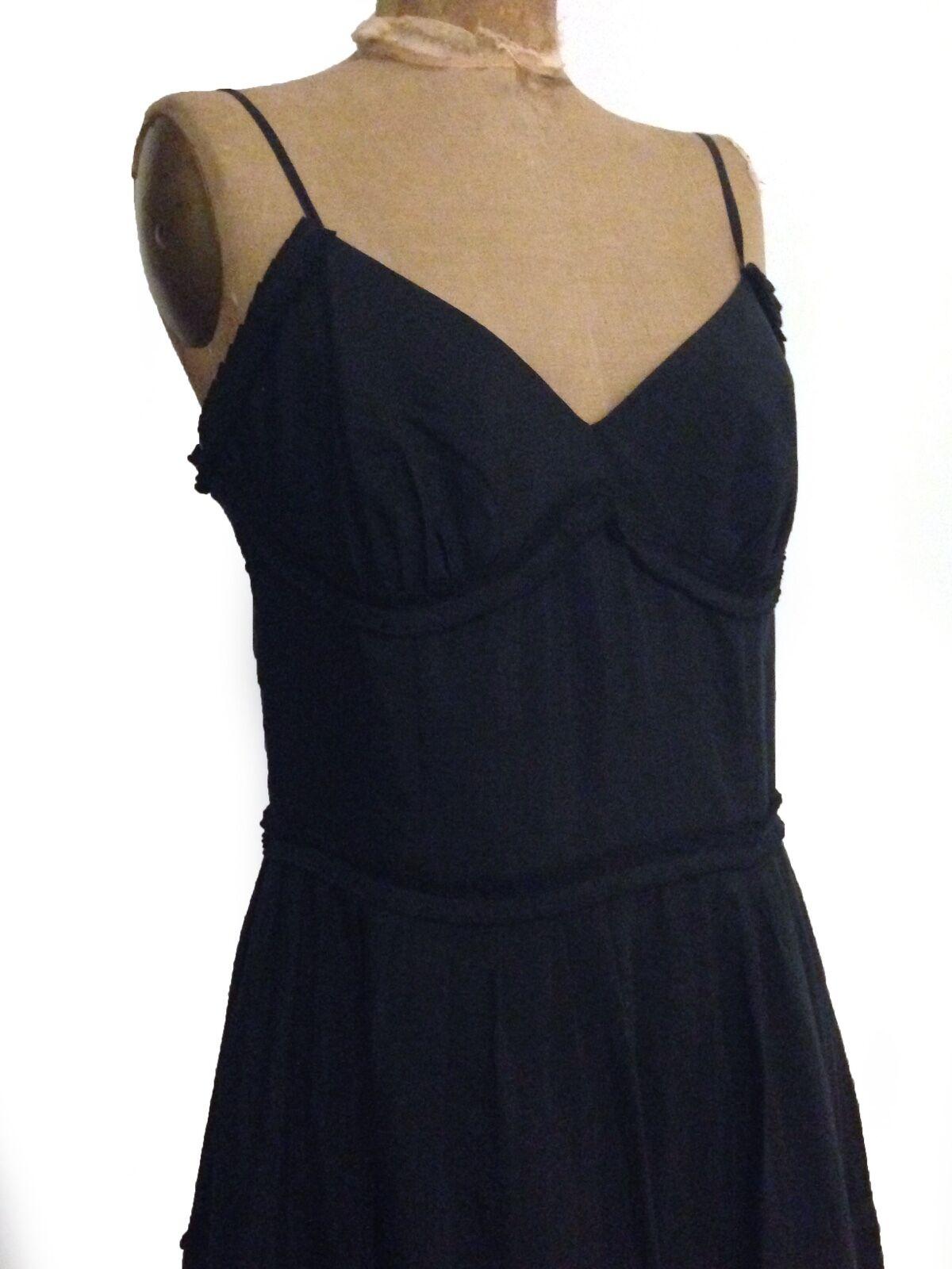 schwarz Cotton & Silk Boho Cocktail Summer Maxi Dress   By ANN TAYLOR  Sz 8