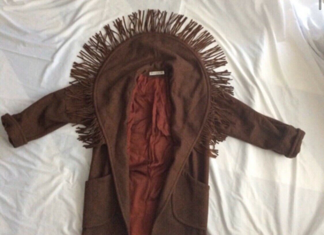 Donnybrook Wool with Leather Fringe Brown Coat Re… - image 2