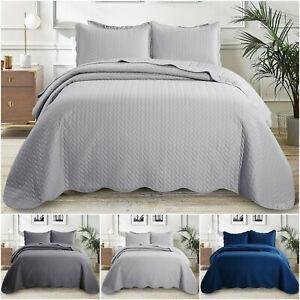 Colcha-Cobertor-De-Edredon-De-Lujo-Acolchado-Reversible-en-3-Colores-2-Almohadas