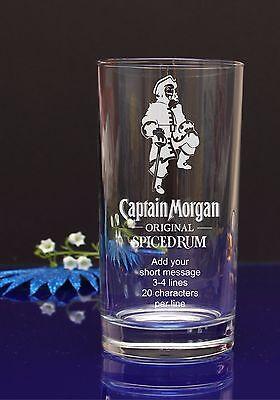 Personnalisé LE CAPITAINE MORGAN//mouleuse Joyeux Anniversaire Hi-ball verre//Présent//Cadeau 58