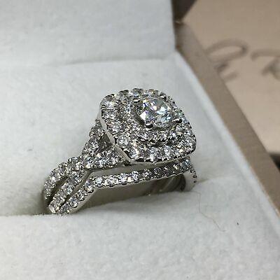 2.50 Ct Round Diamond Solid 14k White Gold Fn Wedding Bridal Set Engagement Ring