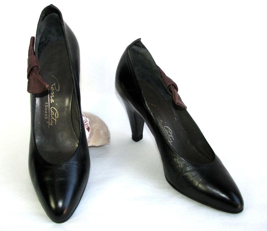 RENE COTY - Escarpins vintage tout cuir cuir black brown 35.5 - TRES BON ETAT