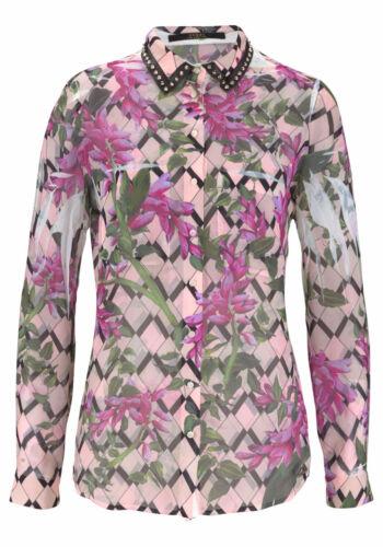 Guess pression chemisier clouis 200-555 en cuir clouté Fleur Rose Pink Cuir Synthétique Crinkle