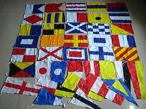 USA SHIPPING - MARITIME Signal Code FLAG Set -100% COTTON -Set of Total 40 flags