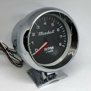 """Marshall 3 3/4"""" Pedestal Tachometer, Black Dial, Chromed Case, 3082CHR"""