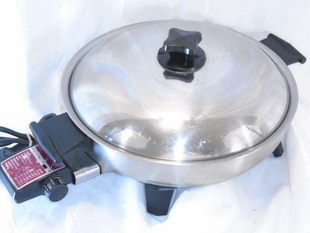 Vintage HEALTH CRAFT ELECTRIC Stainless Steel OIL CORE SKILLET PAN 11