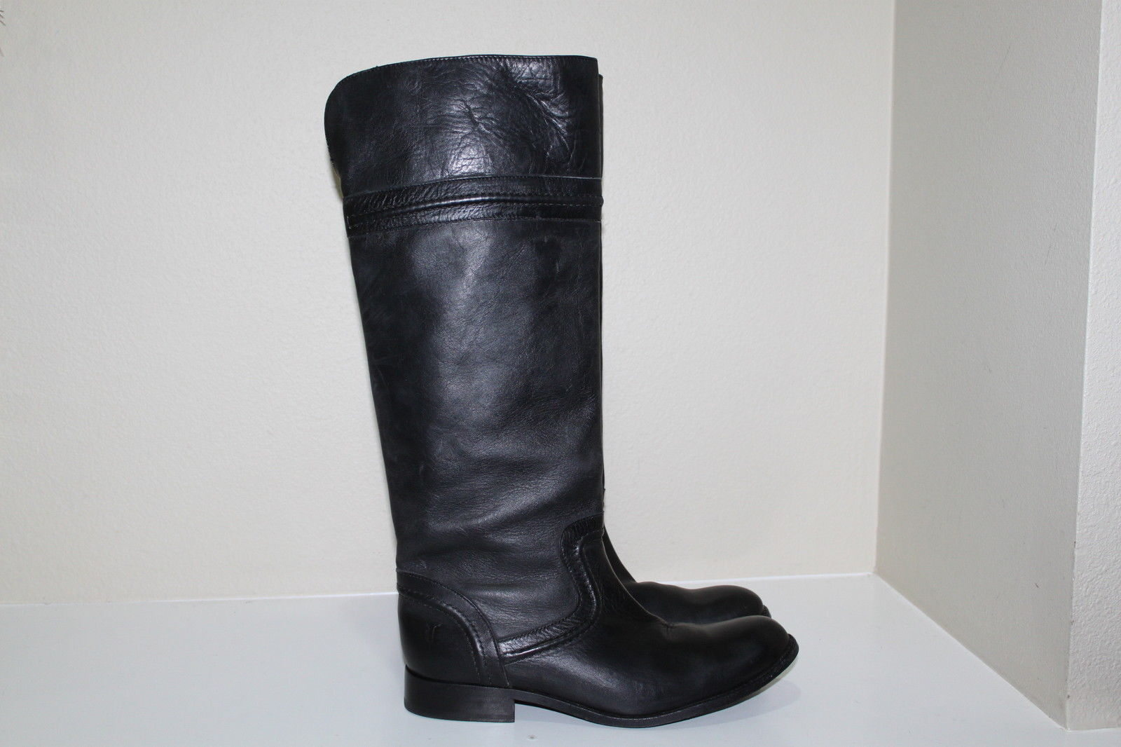 alta qualità Sz 5.5 5.5 5.5 Frye Melissa Trapunto nero Leather Tall Riding stivali Low Heel scarpe  disponibile