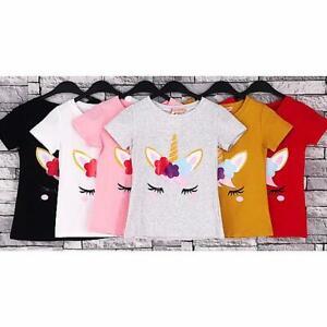 Girls-Unicorn-Top-Kids-Short-Sleeve-Cotton-Summer-T-shirt-Polo-Girls-4-14-Y