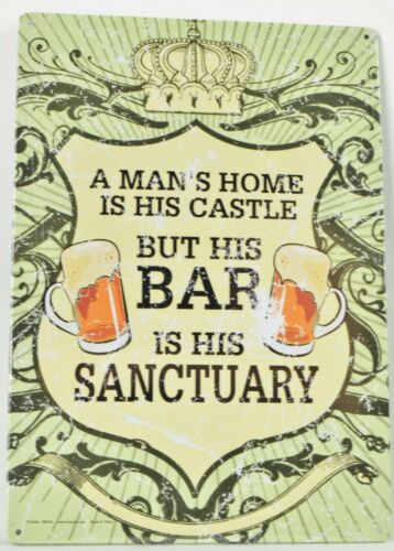 tin sign PICTURE BAR DECOR A man/'s home is his castle