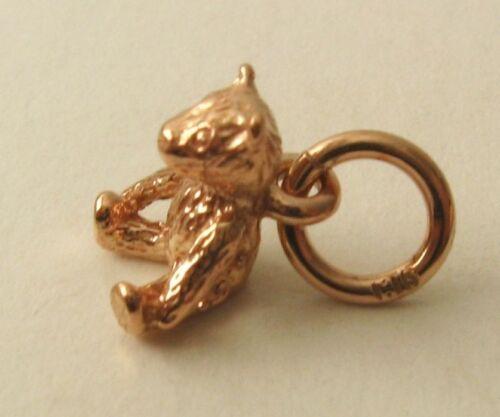 GENUINE SOLID  9ct  ROSE Gold  3D  TEDDY BEAR  ANIMAL Charm//Pendant