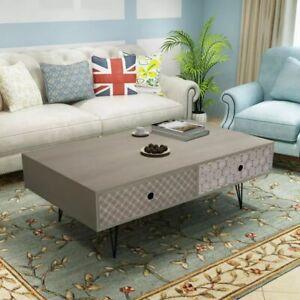vidaXL-Coffee-Table-100x60x35cm-Grey-Drawer-Side-End-Living-Room-Home-Decor