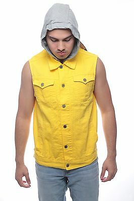Men's NEW  Denim biker vest  Color Vest casual Jacket JEAN VEST Size S-XL YALLOW