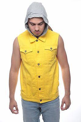 Men's NEW  Denim biker vest  Color Vest casual Jacket JEAN VEST Size S-XL YALLOW