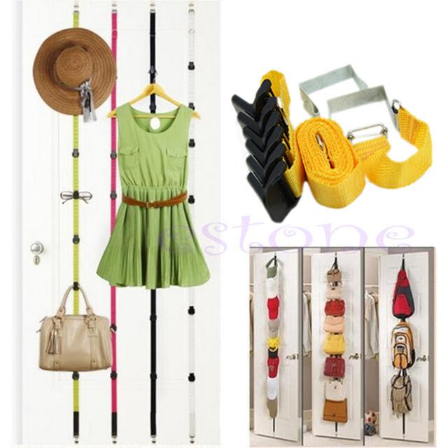 8 Hooks Over Door Straps Hanger Adjustable Hat Bag Clothes Coat Rack Organizer