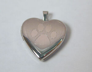 Sterling-Silver-Paw-Print-Heart-Locket-Pendant-Free-U-S-Shipping
