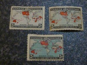 CANADA-POSTAGE-STAMPS-SG166-167-168-2C-3-SHADES-MOUNTED-MINT