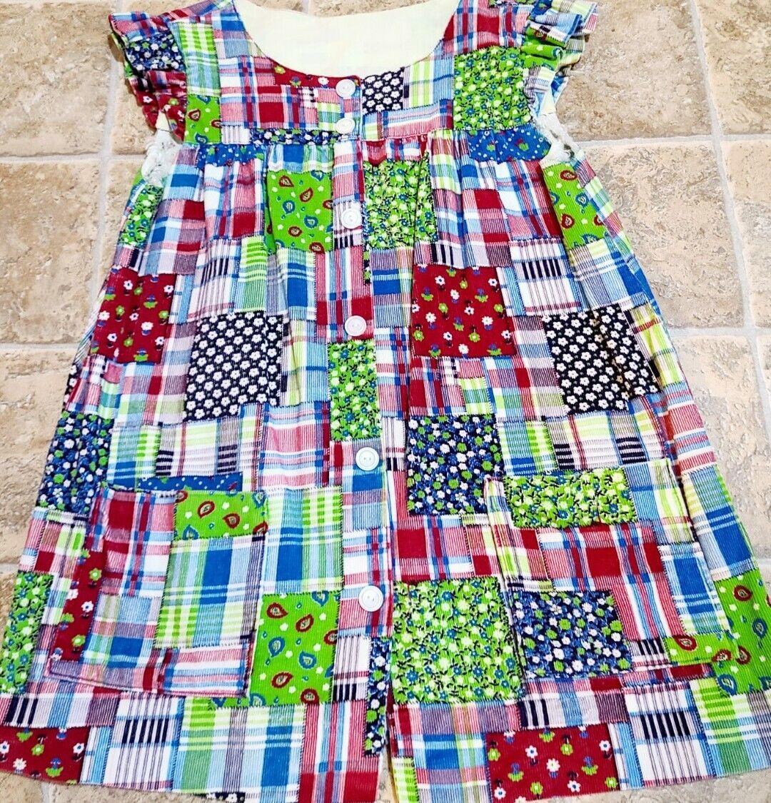 Vintage Corduroy Patchwork Floral Dress Hand Made… - image 4