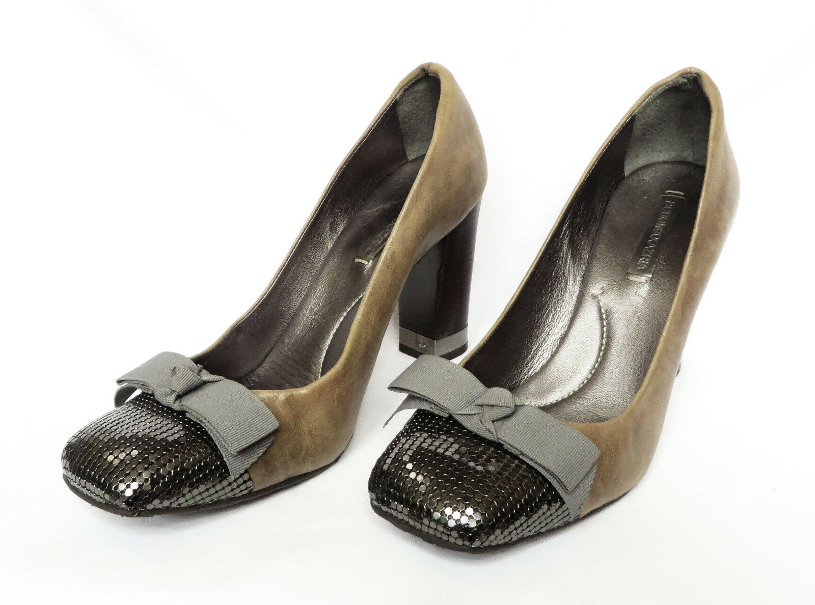 BCBG MAXAZRIA Womens Brown Leather Bow Metallic Square Toe Heels shoes 40 10