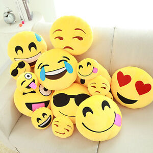 13In Cute Emoji Emoticon Cushion Pillow Round Yellow Stuffed Plush Soft Toy Hot