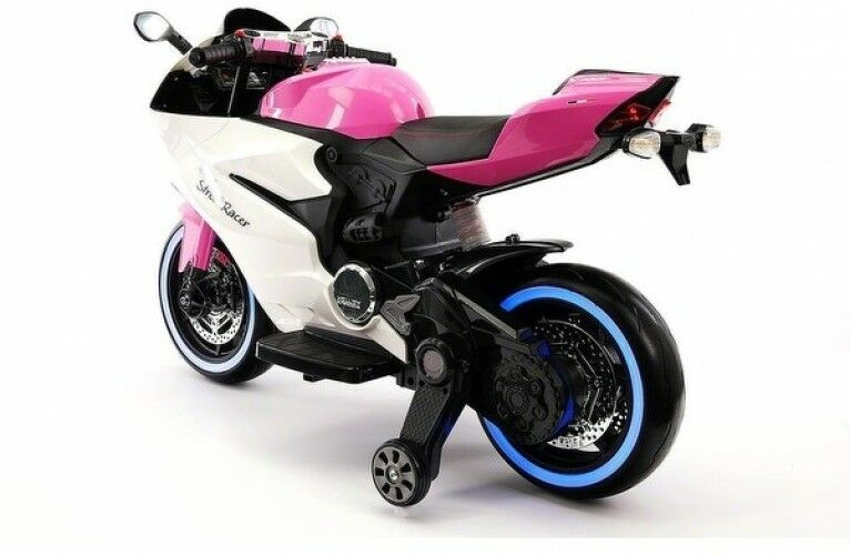 Electric Kids Ride-On Motorcycle Street Racer Racer Racer Rechargeable Light Up Pink 12V fb2952