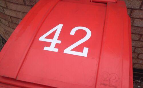 Wheelie Bin numérosMaison ChiffresVinyle Bin Number stickers