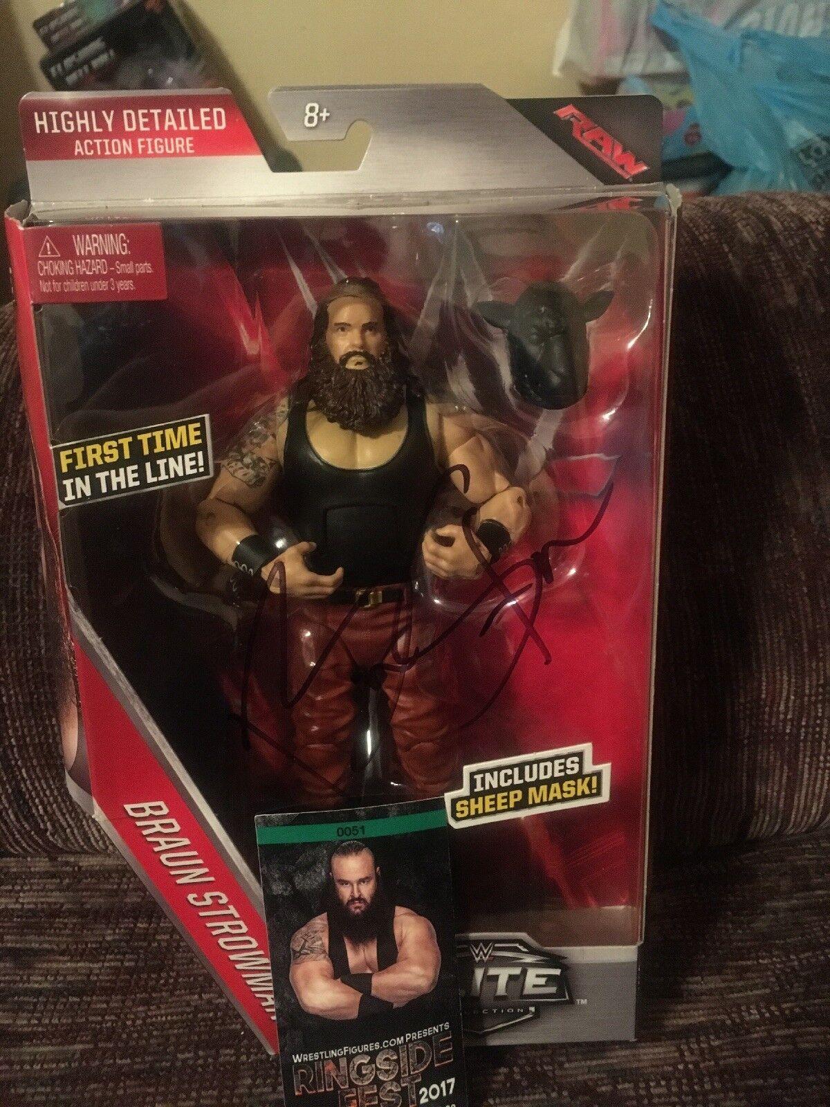 marron strowman MATTEL WWE Elite Series 44 dédicacé signé Ringside FEST NOUVEAU