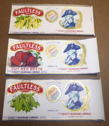 3 DIFF OLD EMBOSSED TIN CAN LABELS VINTAGE 1930S NEWARK NEW JERSEY FAULTLESS