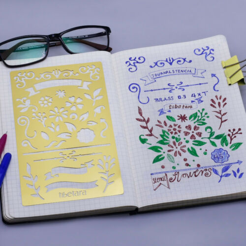 """Bullet Journal Stencil Pattern Nature Stencil for Notebook 4*7/"""" 1pcs 10196250"""