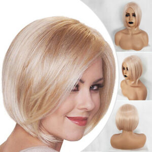Women-Blonde-Straight-Wig-Bob-Ombre-Heat-Resistant-Synthetic-Hair-Cosplay-Party