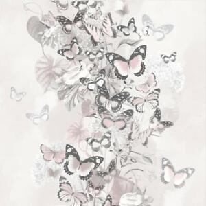 Muriva Summertime Blush Pink Grey Floral Butterfly Wallpaper