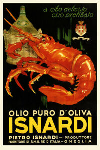 Olive Oil Lobster Isnardi Italy Kitchen Art Vintage Poster Repo FREE SH in USA