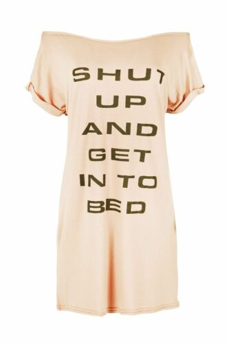 Womens Oversized Shut Up and Get into Bed Print Top Ladies Cap Sleeve T Shirt