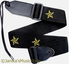 Art acoustic guitar strap with yellow stars leather ends and bootlace strong new