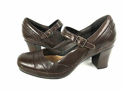CLARKS Heels 9 Brown Leather Slip On Shoes Women's