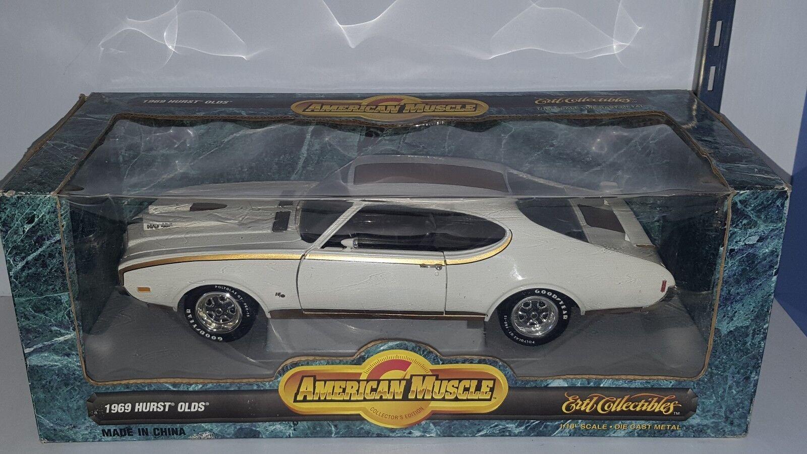 1   18 ertl amerikanische muskeln 1969 hurst oldsmobile Weiß & Gold.
