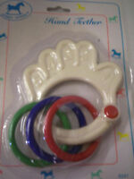 Teether & Rattle By Hobby Horse, Hand W/rings, White, Brand
