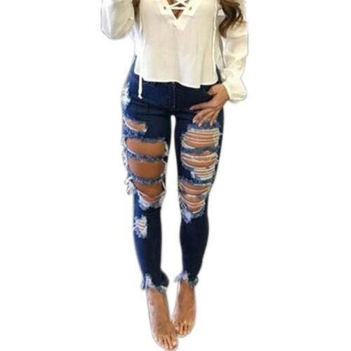 Women Destroyed Ripped Slim Denim Pants Boyfriend Jeans Trousers Skinny Jeggings