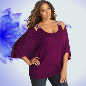 Women-3-4-Sleeve-Solid-Plus-Size-Loose-Off-Shoulder-Bling-T-Shirt-Tops-Blouse-US