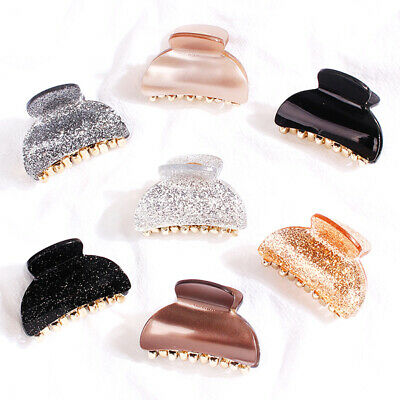 Details about  /Hair Claw Crab Clamp Solid Color Geometric Rectangle Acrylic Resin Hair Clip Pin