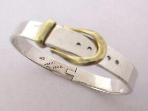 Taxco-Mexican-925-Sterling-Silver-Belt-Buckle-Bangle-Bracelet-39g-7-034