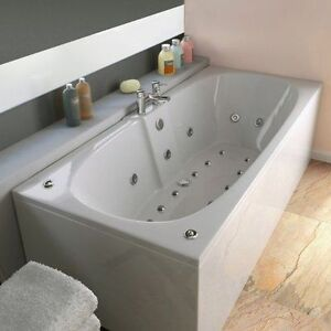 chelsea 23 jet double ended whirlpool spa bath 1700x750mm jacuzzi spa white ebay. Black Bedroom Furniture Sets. Home Design Ideas