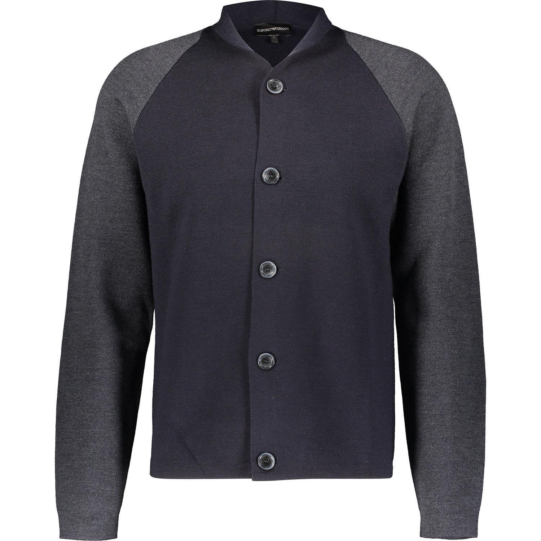 a5f6a77a5e4ef EMPORIO ARMANI Men's Navy & Grey Wool Blend XL Cardigan, size ...