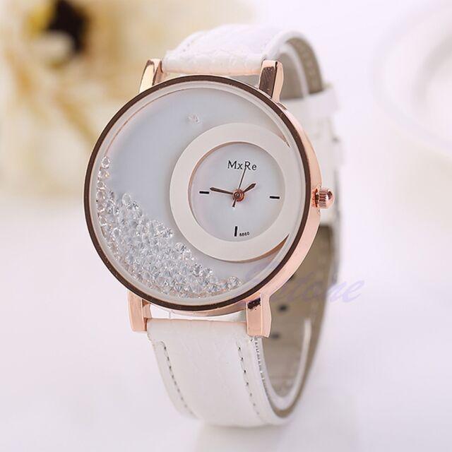 Women Fashion Quicksand Faux Leather Band Bracelet Round Dial Analog Wrist Watch