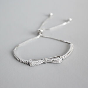 Women-Fashion-Genuine-S925-Sterling-Silver-Bow-Knot-Shiny-CZ-Bracelet-Bangle