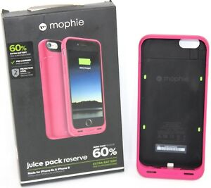 new concept a6ea2 c279a Details about Mophie Juice Pack Reserve Apple iPhone 6 iPhone 6s Pink  Battery Phone Case