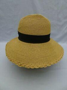701fcf76c Details about Sun 'N' Sand Headwear Women's Beach Straw Look Hat Natural w  Black Ribbon 7-3/4