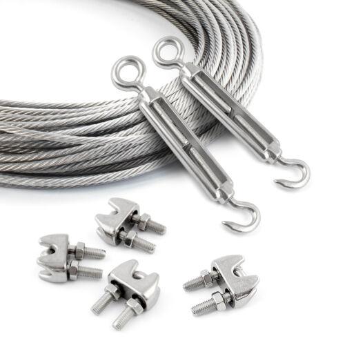 Edelstahlseil 4mm Zubehörteile Set V4A Kauschen Klemmen Spannschloss 7x7 Seil