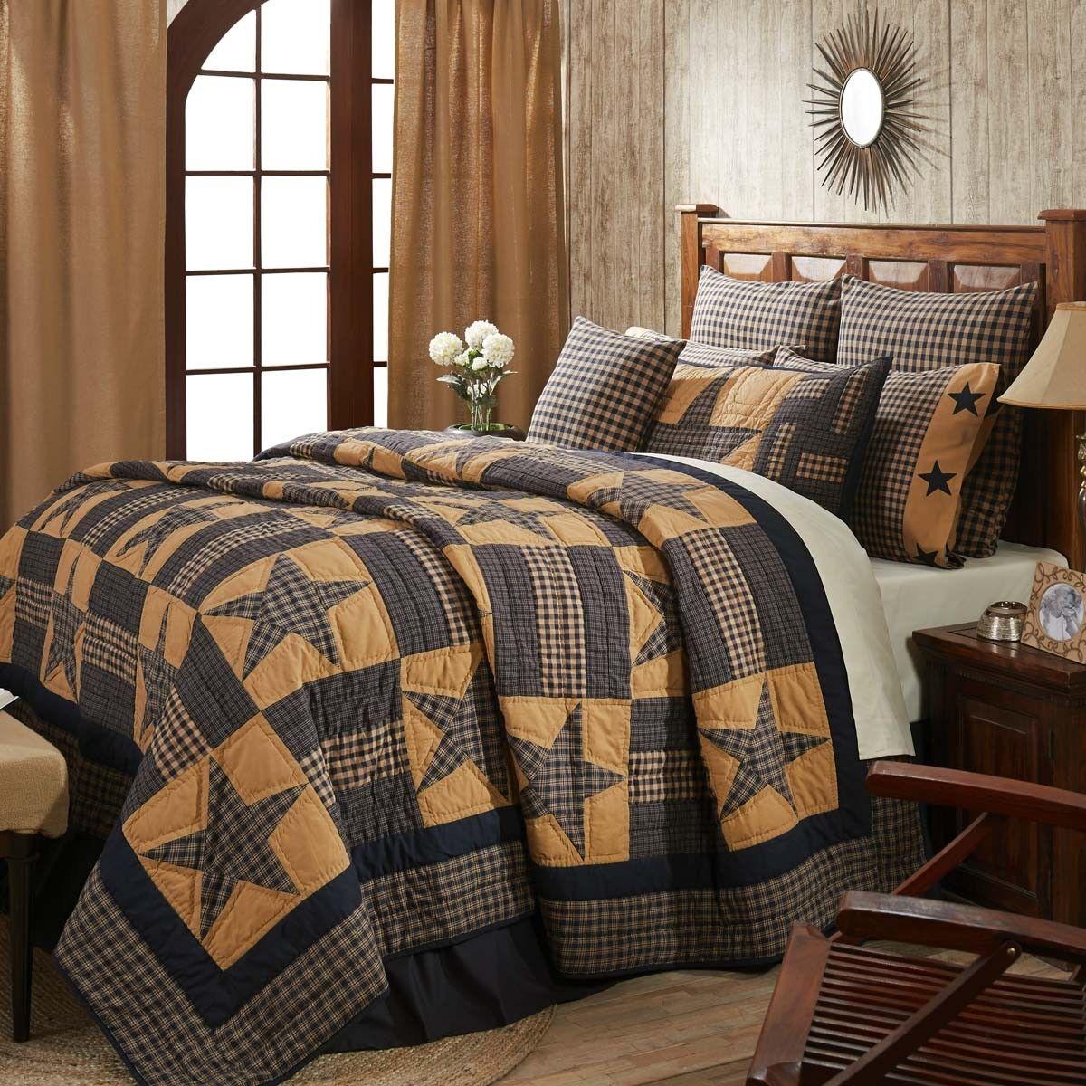 VHC Teton Star Cotton Quilt (Your Choice Size & Accessories) Navy Primitive Star