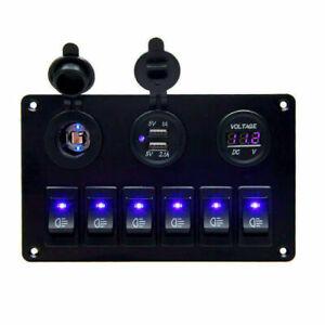 6-Gang-LED-Schalter-Schaltpanel-Schalttafel-Voltmeter-12V-24V-Bus-Auto-Boot-RV