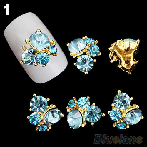 Hot 10pcs 3D Rhinestones Nail Art Glitters Sticker Tips Manicure DIY Decorations